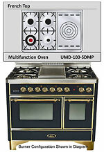 Ilve UMD100SDMPN Majestic Pro 40  DualFuel Gas Range Oven French Top Gloss Black