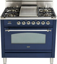 Ilve UPN90FDVGGBLX Nostalgie 36  Gas Range Single Oven Convection Midnight Blue