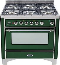 Ilve UM906DVGGVSX Majestic Series 36  All Gas Range Oven 6 Burner Emerald Green