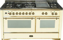 Ilve UM150FDMPA Majestic 60  Pro Dual Fuel Gas Range Double Oven Antique White