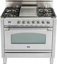 Ilve UPN90FDVGGIX Nostalgie 36  Gas Range Single Oven Convection Stainless Steel