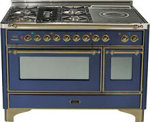 Ilve UM120SDMPBLY 48  Pro Dual Fuel Range French Top Double Oven Bronze Trim