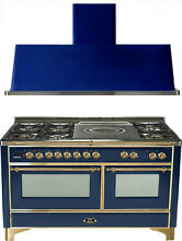 Ilve UM150SDMPBL Majestic 60  Dual Fuel Gas Range Oven French Top 2pc Package
