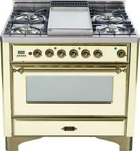 Ilve UM90FDVGGAY Majestic Series 36  Gas Range Oven 4 Burners With Griddle