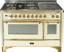 Ilve UM120SDMPA Majestic 48  Pro Dual Fuel Range Oven French Top Antique White