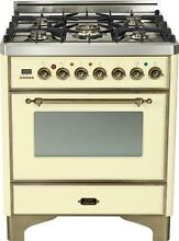 Ilve UM76DVGGAY Majestic Pro 30  All Gas Range Oven Antique White Bronze Trim