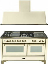 Ilve UM150FSDMPAY 60  Dual Fuel Gas Range Oven Griddle French Top 2pc Package