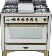 Ilve UM90FDMPIY Majestic 36  Pro Dual Fuel Range Oven Griddle Stainless Steel