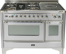 Ilve UM120SDMPIX 48  Pro Dual Fuel Range Double Oven Stainless Steel French Top