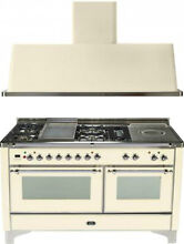 Ilve UM150FSDMPAX 60  Dual Fuel Gas Range Oven Griddle French Top 2pc Package