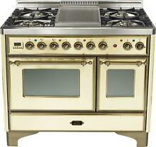 Ilve UMD100FDMPAY Majestic 40  Pro Dual Fuel Gas Range Double Oven Antique White