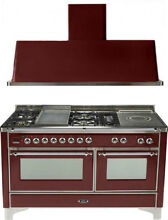 Ilve UM150FSDMPRBX 60  Dual Fuel Gas Range Oven Griddle French Top 2pc Package