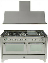 Ilve UM150FDMPIX Majestic 60  Pro Dual Fuel Gas Range Double Oven 2Pc Package
