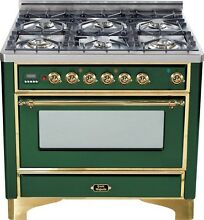 Ilve UM906DVGGVS Majestic Series 36  Pro Gas Range Oven 6 Burner Warming Drawer