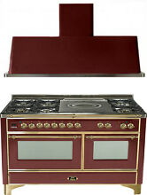 Ilve UM150SDMPRB Majestic 60  Dual Fuel Gas Range Oven French Top 2pc Package