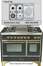 Ilve UMD100SDMPM 40  Majestic Pro Dual Fuel Gas Range Double Oven French Top