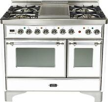 Ilve UMD100FDMPBX 40  Majestic Dual Fuel Gas Range Double Oven Warming Drawer