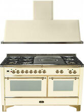 Ilve UM150SDMPA Majestic 60  Dual Fuel Gas Range Oven French Top 2pc Package