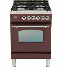 Ilve UPN60DVGGRBX Nostalgie 24  Gas Range Single Oven Convection Burgundy