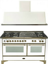 Ilve UM150SDMPBY Majestic 60  Dual Fuel Gas Range Oven French Top 2pc Package