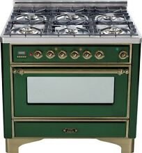 Ilve UM906DVGGVSY Majestic Pro 36  All Gas Range Oven 6 Burner Warming Drawer