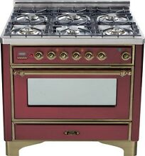 Ilve UM906DVGGRBY Majestic Pro 36  All Gas Range Oven 6 Burner Warming Drawer