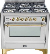Ilve UM906DVGGI Majestic Pro 36  All Gas Range Oven 6 Burner Stainless Steel