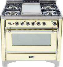 Ilve UM90FDVGGAX Majestic 36  Pro Gas Range Oven With Griddle Antique White