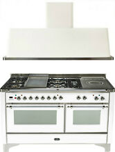 Ilve UM150FSDMPBX 60  Dual Fuel Gas Range Oven Griddle French Top 2pc Package