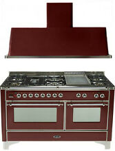 Ilve UM150FDMPRBX Majestic 60  Pro Dual Fuel Gas Range Double Oven 2Pc Package