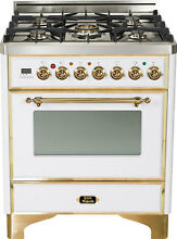 Ilve UM76DVGGB Majestic 30  Pro Single Oven All Gas Range True White Brass Trim