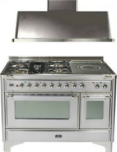 Ilve UM120SDMPIX 48  Dual Fuel Range French Top Double Oven Hood Kitchen Package