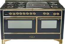Ilve UM150SDMPM Majestic 60  Pro Dual Fuel Gas Range Double Oven French Top