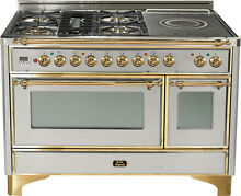Ilve UM120SDMPI 48  Dual Fuel Range French Top Double Oven Stainless Brass Trim