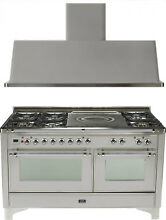 Ilve UM150SDMPIX Majestic 60  Dual Fuel Gas Range Oven French Top 2pc Package