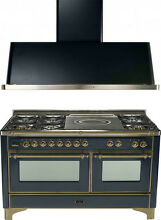 Ilve UM150SDMPMY Majestic 60  Dual Fuel Gas Range Oven French Top 2pc Package