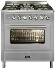 Ilve UMT76DMPI Majestic Techno 30  Dual Fuel Range Single Oven Warming Drawer