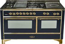 Ilve Majestic UM150FSDMPN 60  Pro Dual Fuel Gas Range Oven Griddle French Top