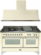 Ilve UM150FDMPAX Majestic 60  Pro Dual Fuel Gas Range Double Oven 2Pc Package