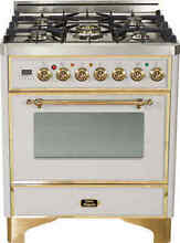 Ilve UM76DVGGI Majestic 30  Single Oven All Gas Range Stainless Steel Brass Trim