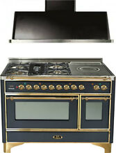 Ilve UM120SDMPM 48  Dual Fuel Range French Top Double Oven Hood Kitchen Package