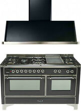 Ilve UM150FDMPMX Majestic 60  Pro Dual Fuel Gas Range Double Oven 2Pc Package