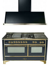 Ilve UM150FSDMPM 60  Dual Fuel Gas Range Oven Griddle French Top 2pc Package