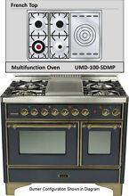 Ilve UMD100SDMPMY 40  Majestic Pro Dual Fuel Gas Range Double Oven French Top