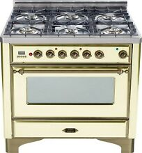 Ilve UM906DMPAY Majestic 36  Pro Dual Fuel Range Oven 6 Burner Antique White