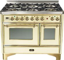 Ilve UMD1006DMPA Majestic 40  6 Burner Dual Fuel Double Oven Range Antique White