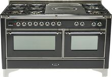 Ilve UM150SDMPMX Majestic Series 60  Dual Fuel Gas Range Double Oven French Top