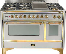 Ilve UM120FDMPI Majestic 48  Dual Fuel Gas Range 7 Burner Double Oven Brass Trim