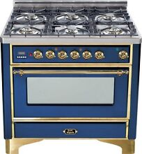 Ilve UM906DVGGBL Majestic Series Pro 36  Gas Range Oven 6 Burner Warming Drawer