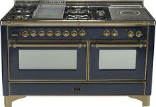 Ilve Majestic UM150FSDMPMY 60  Pro Dual Fuel Gas Range Oven Griddle French Top